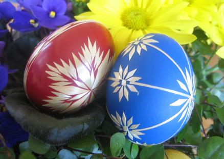 Red and blue Easter eggs